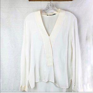 Zara Womans Long Sleeve Blouse VNeck Ivory M